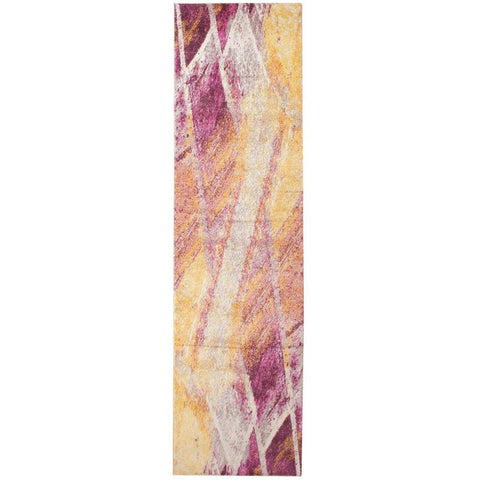 Lima Purple Pink Beige Gold Abstract Lines Patterned Modern Runner Rug - Rugs Of Beauty