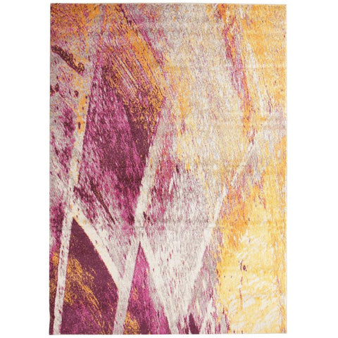 Lima Purple Pink Beige Gold Abstract Lines Patterned Modern Rug - Rugs Of Beauty