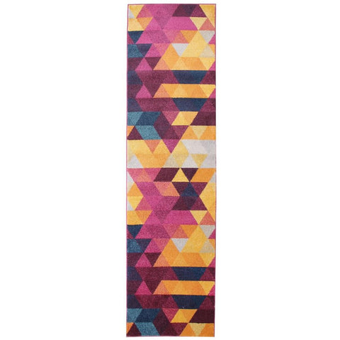 Lima Bright Multi Coloured Abstract Triangle Patterned Modern Runner Rug - Rugs Of Beauty