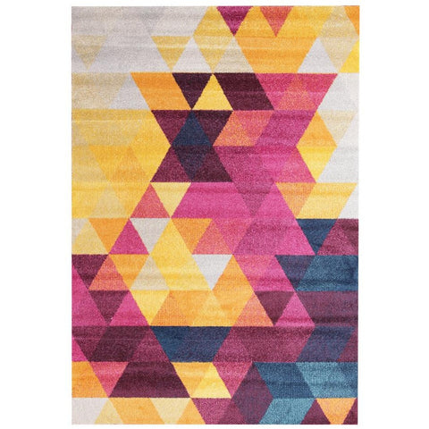 Lima Bright Multi Coloured Abstract Triangle Patterned Modern Rug - Rugs Of Beauty