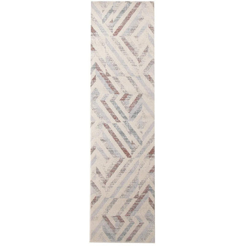 Lima Grey Beige Rust Faded Abstract Lines Patterned Modern Runner Rug - Rugs Of Beauty