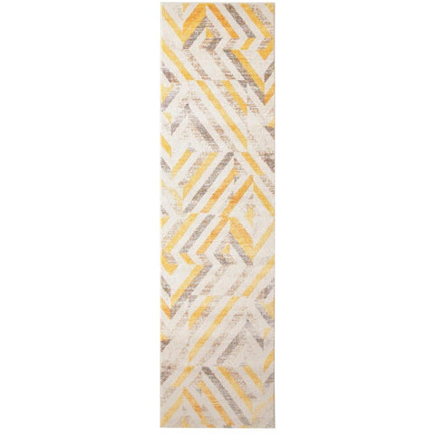 Lima Yellow Beige Multi Colour Faded Abstract Lines Patterned Modern Runner Rug - Rugs Of Beauty