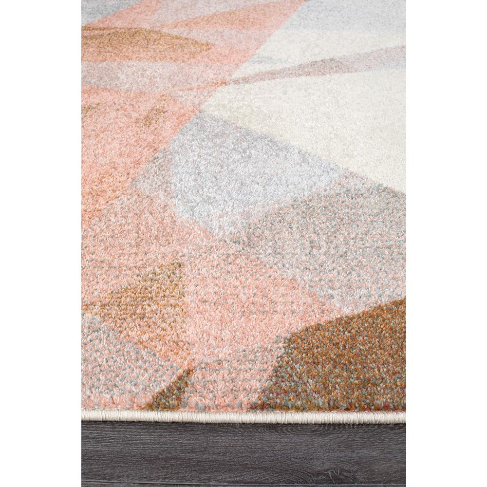 Lima Blush Pastel Abstract Geometric Patterned Modern Rug