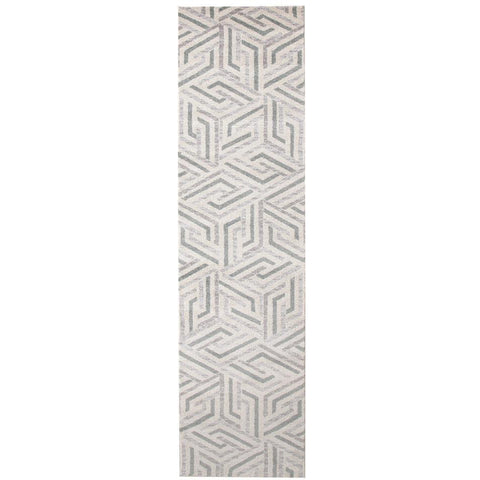 Lima Grey Blue Beige Abstract Lines Geometric Patterned Modern Runner Rug - Rugs Of Beauty