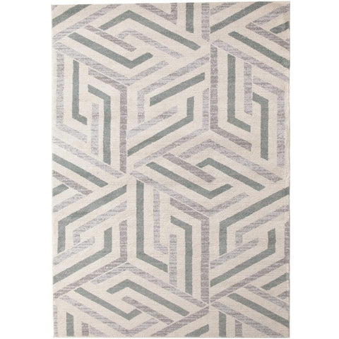 Lima Grey Blue Beige Abstract Lines Geometric Patterned Modern Rug - Rugs Of Beauty