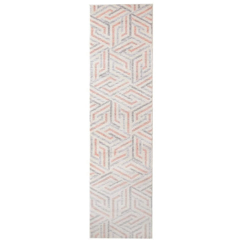 Lima Orange Grey Beige Abstract Lines Geometric Patterned Modern Runner Rug - Rugs Of Beauty