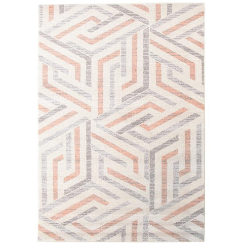 Lima Orange Grey Beige Abstract Lines Geometric Patterned Modern Rug - Rugs Of Beauty