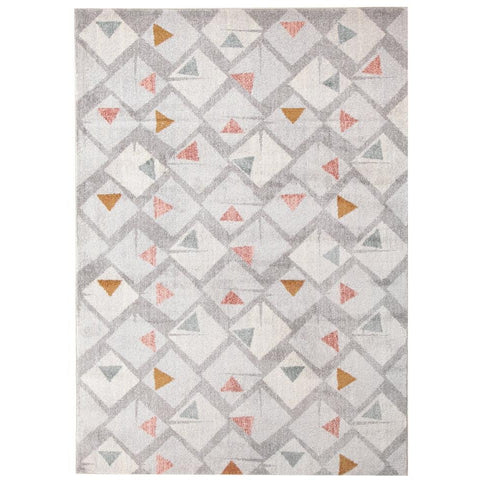 Lima Grey Squares Multi Triangles Geometric Patterned Modern Rug - Rugs Of Beauty