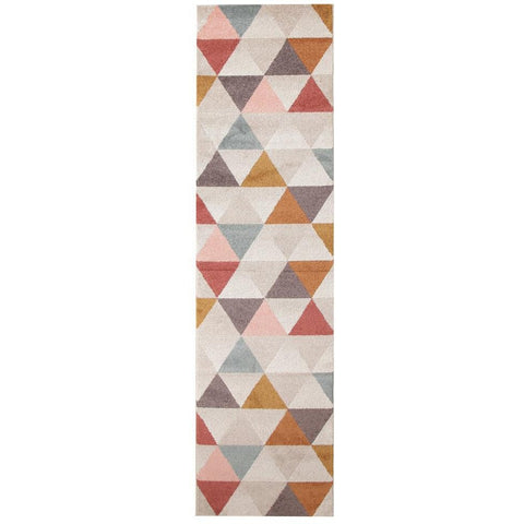 Lima Multi Coloured Triangle Geometric Patterned Modern Runner Rug - Rugs Of Beauty