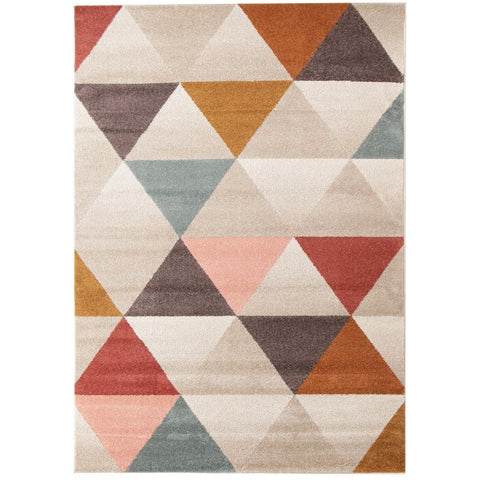 Lima Multi Coloured Triangle Geometric Patterned Modern Rug - Rugs Of Beauty