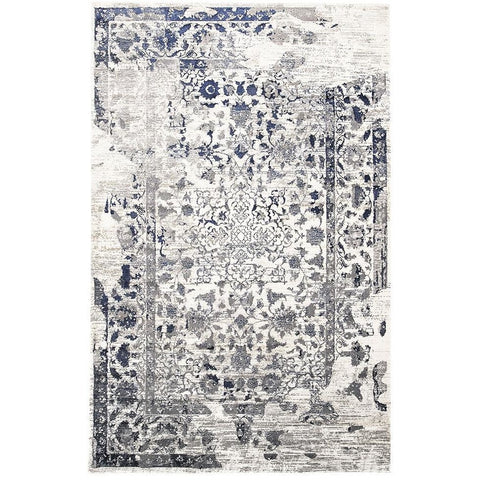 Lisala 455 Blue Beige Grey Traditional Vintage Patterned Rug - Rugs Of Beauty - 1