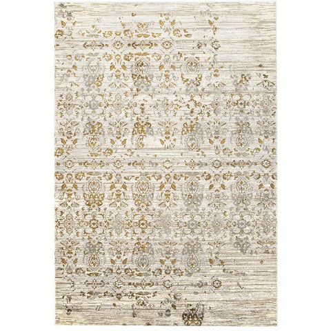 Lisala 459 Gold Grey Beige Traditional Vintage Patterned Rug - Rugs Of Beauty - 1