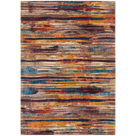 Potenza 493 Multi Colour Striped Modern Rug - Rugs Of Beauty - 1
