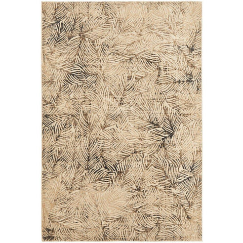 Potenza 494 Charcoal Beige Multi Colour Leaf Patterned Modern Rug - Rugs Of Beauty - 1