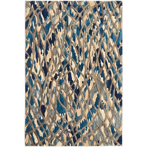 Potenza 496 Blue Multi Colour Abstract Patterned Modern Rug - Rugs Of Beauty - 1