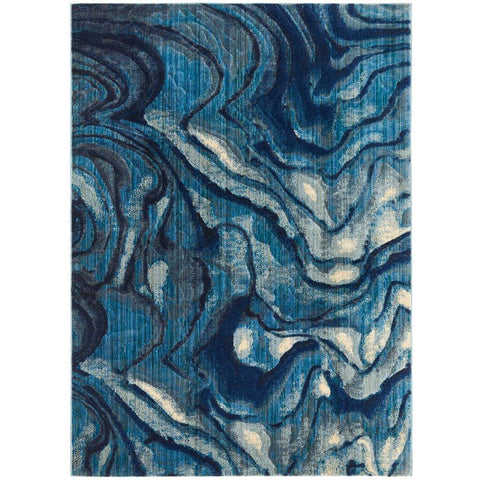 Potenza 503 Blue Waves Multi Colour Abstract Patterned Modern Rug - Rugs Of Beauty - 1
