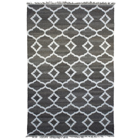 Nekhbet Charcoal and Cream Trellis Patterned Flatweave Wool Silk Rug - Rugs Of Beauty
