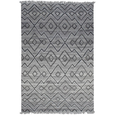Nekhbet Charcoal and Cream Diamond Patterned Flatweave Wool Silk Rug - Rugs Of Beauty