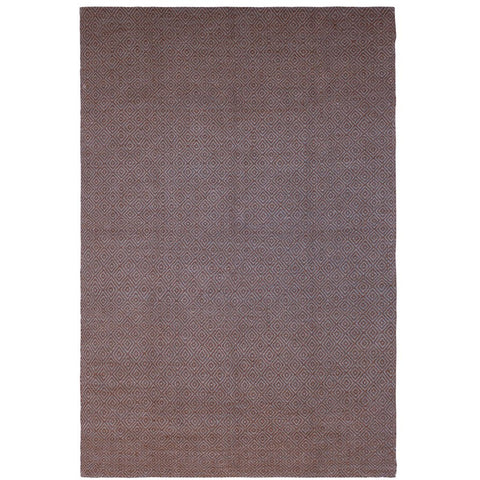 Tawaret Blue and Brown Diamond Patterned Wool Jute Dhurrie Rug - Rugs Of Beauty