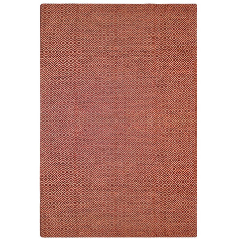 Tawaret Red Diamond Patterned Wool Jute Dhurrie Rug - Rugs Of Beauty