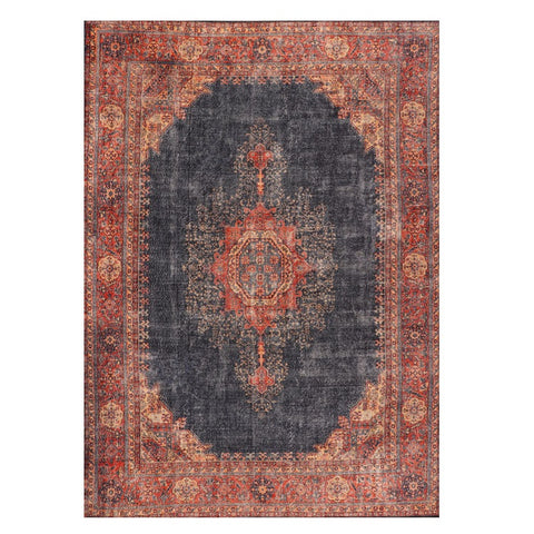 Winchester 477 Red Navy Patterned Transitional Rug - Rugs Of Beauty - 1