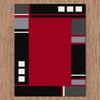 Dover Red Abstract Multi Coloured Border Modern Rug - 3