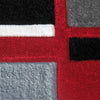 Dover Red Abstract Multi Coloured Border Modern Rug - 4