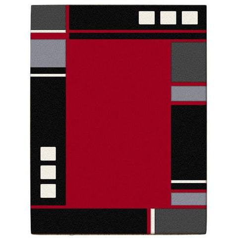 Dover Red Abstract Multi Coloured Border Modern Rug - 1