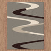 Dover Brown Beige Taupe Abstract Wave Pattern Grey Modern Rug - 3