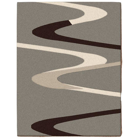 Dover Brown Beige Taupe Abstract Wave Pattern Grey Modern Rug - 1