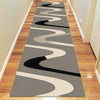 Dover Brown Beige Taupe Abstract Wave Pattern Grey Modern Rug Runner