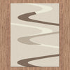 Dover Brown Beige Taupe Abstract Wave Pattern Beige Modern Rug - 3