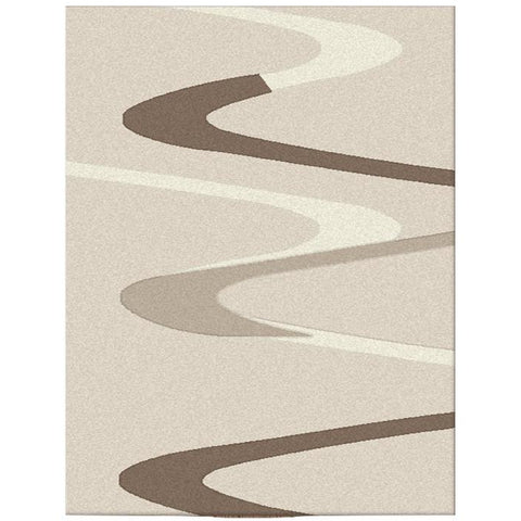 Dover Brown Beige Taupe Abstract Wave Pattern Beige Modern Rug - 1