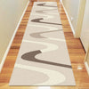 Dover Brown Beige Taupe Abstract Wave Pattern Beige Modern Rug - Runner