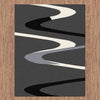 Dover Grey Beige Black Abstract Wave Pattern Dark Grey Modern Rug - 3