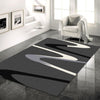 Dover Grey Beige Black Abstract Wave Pattern Dark Grey Modern Rug - 2