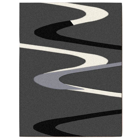 Dover Grey Beige Black Abstract Wave Pattern Dark Grey Modern Rug - 1