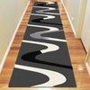 Dover Grey Beige Black Abstract Wave Pattern Dark Grey Modern Rug Runner