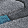 Dover Turquoise Blue Dark Grey Beige Abstract Wave Pattern Light Grey Modern Rug - 3