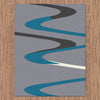 Dover Turquoise Blue Dark Grey Beige Abstract Wave Pattern Light Grey Modern Rug - 4