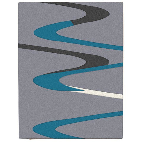 Dover Turquoise Blue Dark Grey Beige Abstract Wave Pattern Light Grey Modern Rug - 1