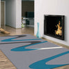 Dover Turquoise Blue Dark Grey Beige Abstract Wave Pattern Light Grey Modern Rug - 5