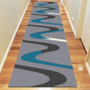Dover Turquoise Blue Dark Grey Beige Abstract Wave Pattern Light Grey Modern Rug - Runner