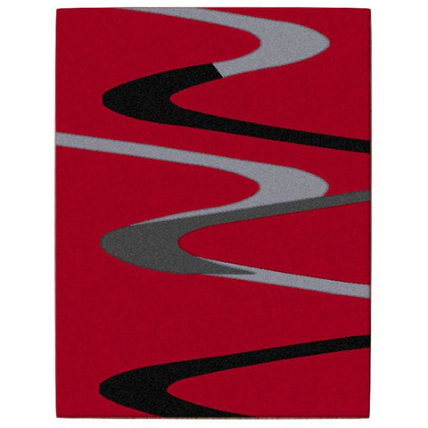 Dover Grey Black Abstract Wave Pattern Red Modern Rug - 1