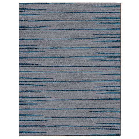 Dover Grey Black Blue Abstract Lines Modern Rug - 1