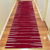 Dover Red White Grey Abstract Lines Modern Rug -Runner