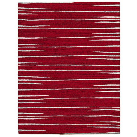 Dover Red White Grey Abstract Lines Modern Rug - 1
