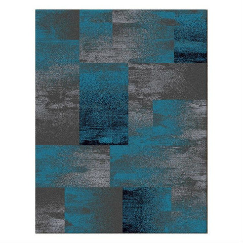 Dover Grey Blue Black Abstract Patchwork Modern Rug - 1