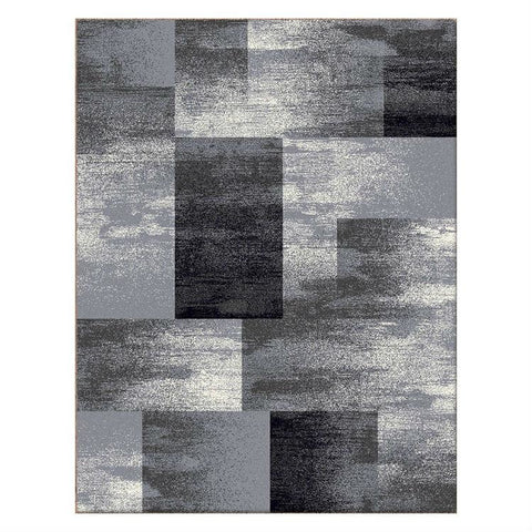 Dover Grey Beige Abstract Patchwork Modern Rug - 1