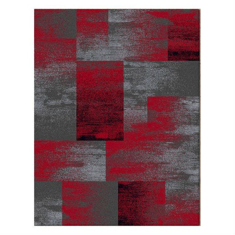 Dover Red Black Grey Beige Abstract Patchwork Modern Rug - 1